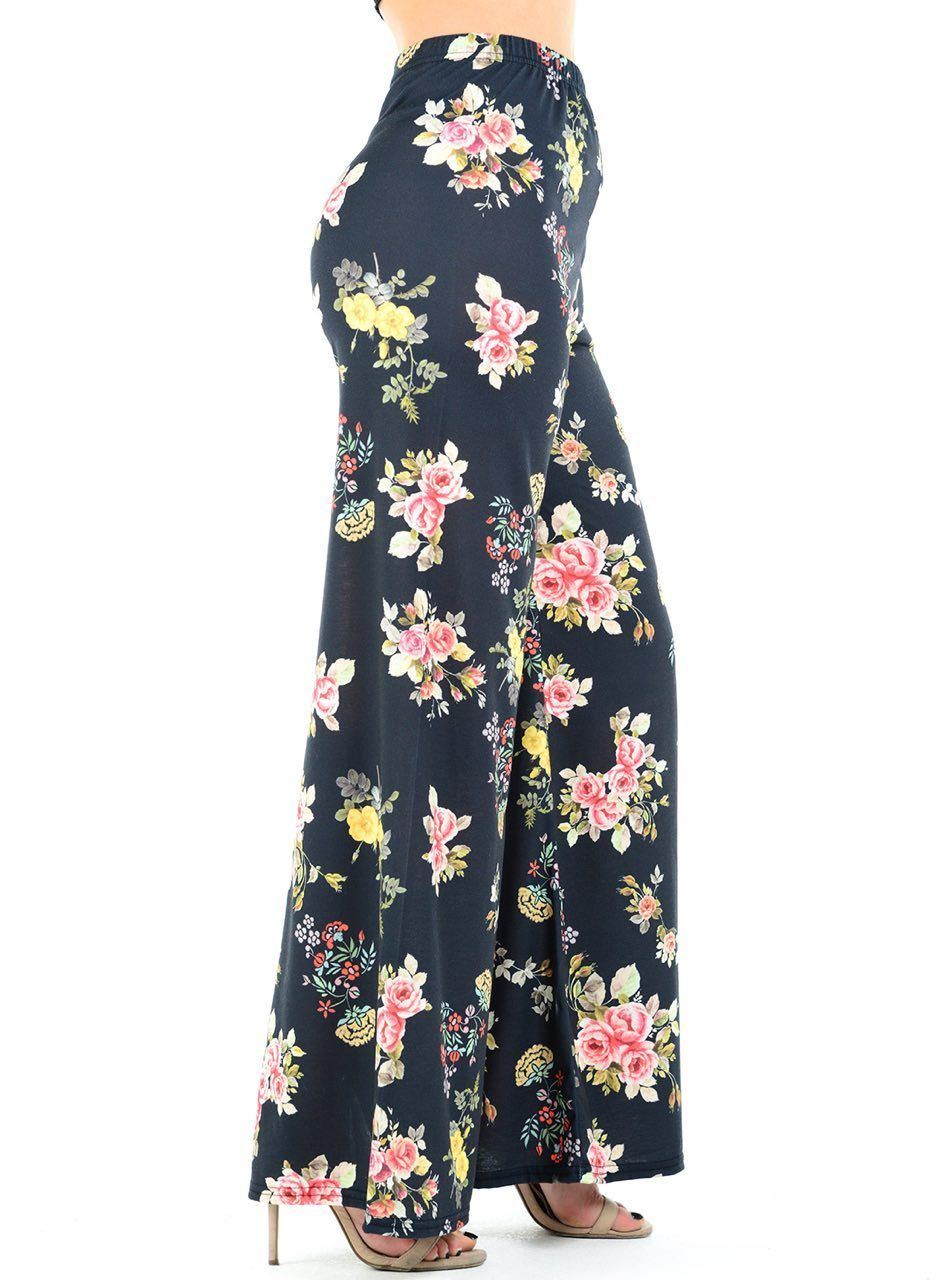 New-Ladies-Floral-Printed-Wide-Leg-Flared-Parallel-Baggy-Trousers-Pants-Palazzo thumbnail 88