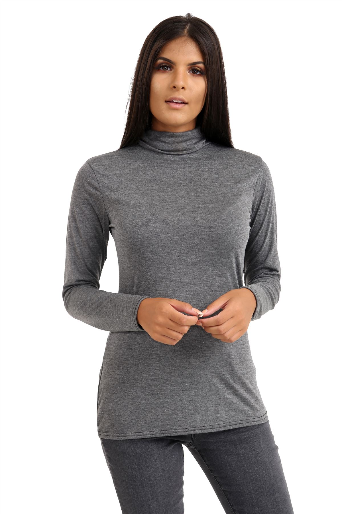New-Ladies-Long-Sleeve-Plain-Turtle-Polo-Roll-Neck-Stretch-Jumper-T-Shirt-TeeTop thumbnail 23