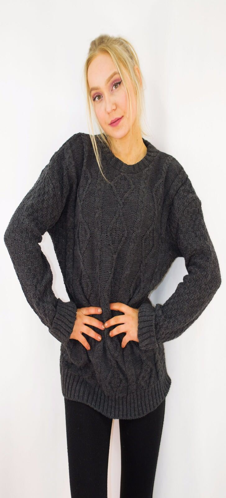 New-Ladies-Long-Manche-Chunky-Cable-Knitted-Jumper-crew-neck-hiver-Sweater-Top miniature 13