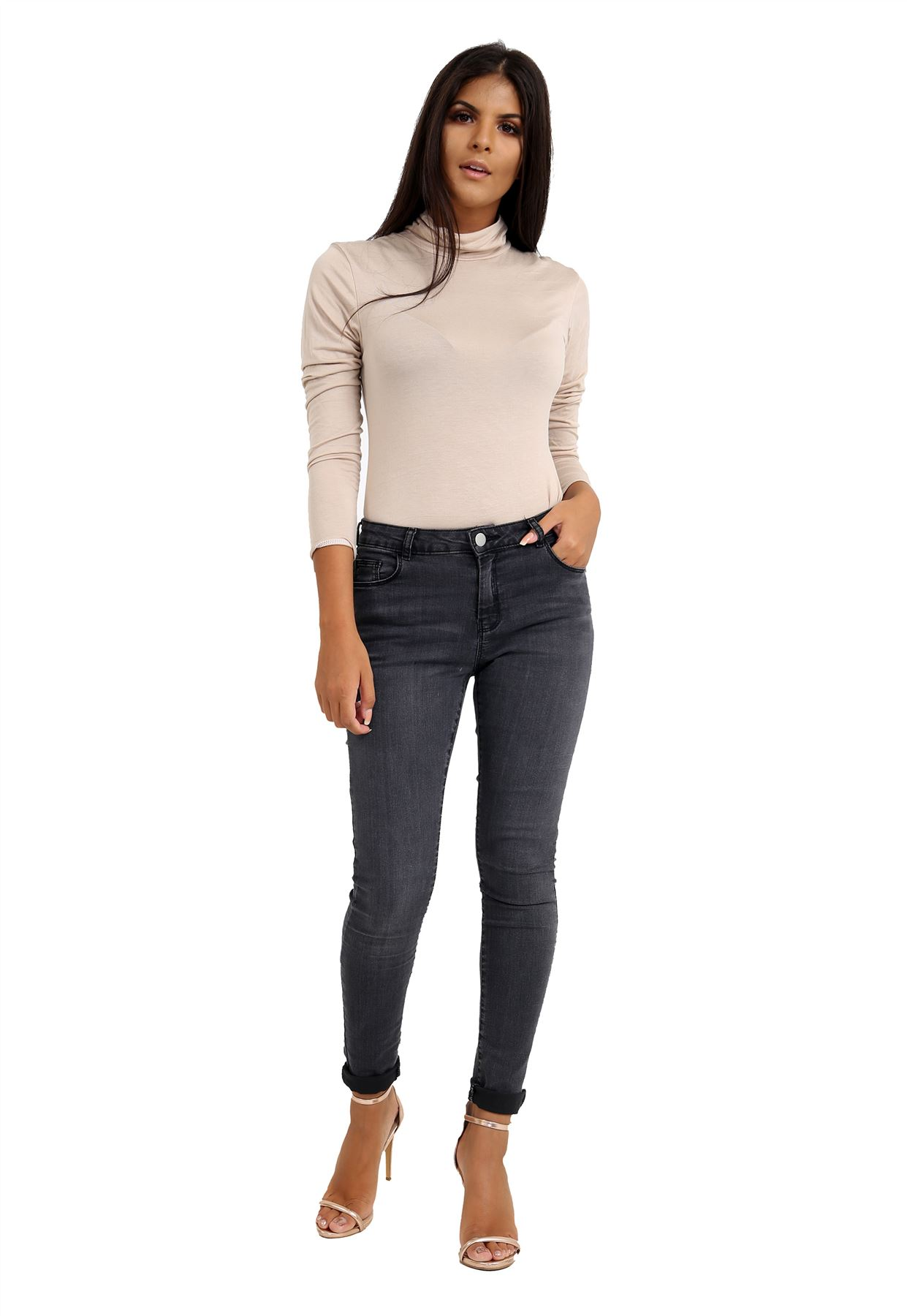 New-Ladies-Long-Sleeve-Plain-Turtle-Polo-Roll-Neck-Stretch-Jumper-T-Shirt-TeeTop thumbnail 109