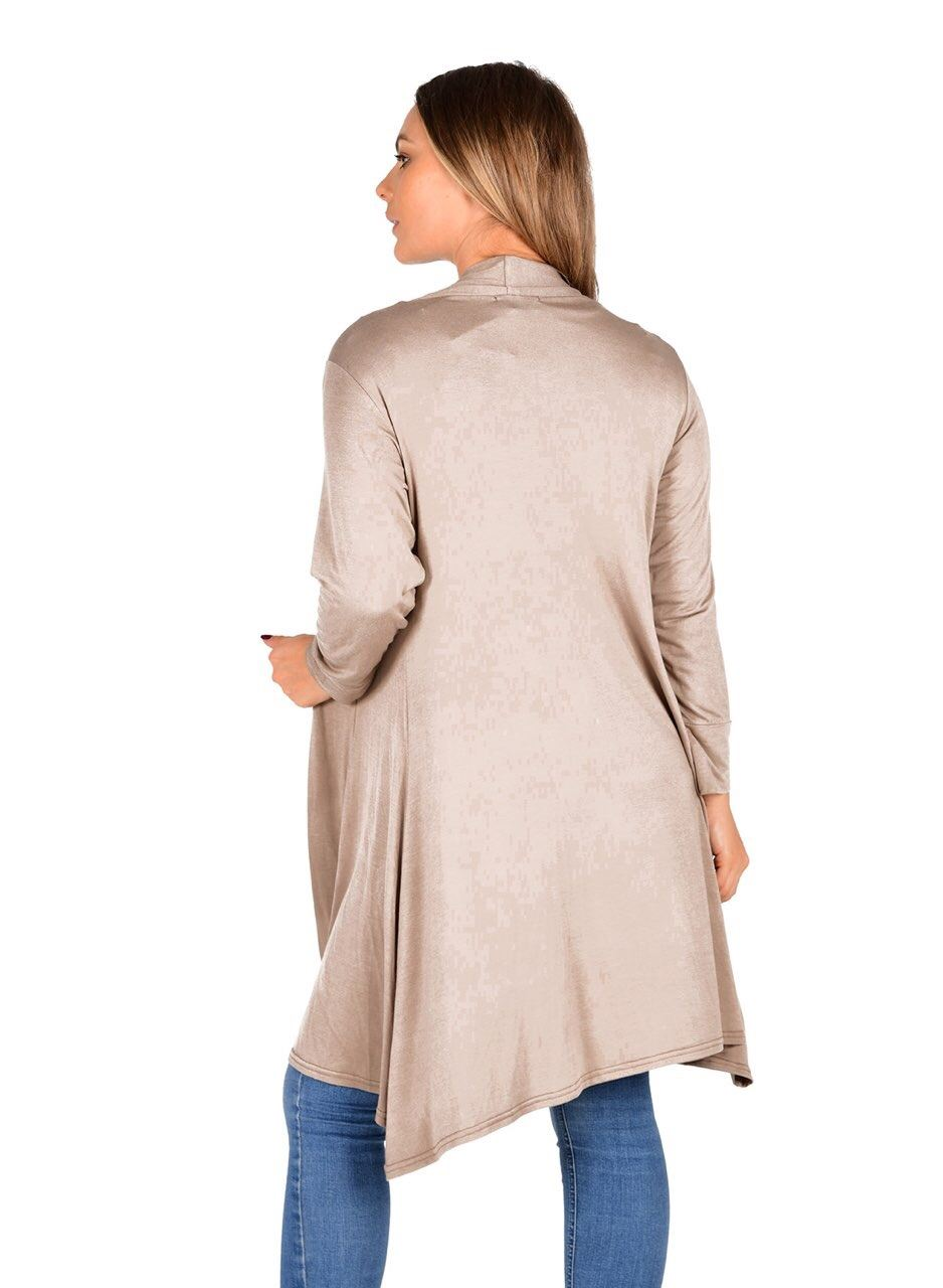 New-Womens-Open-Front-Knee-Length-Plain-Cardigan-Long-Sleeve-Party-Casual-Top miniatura 10