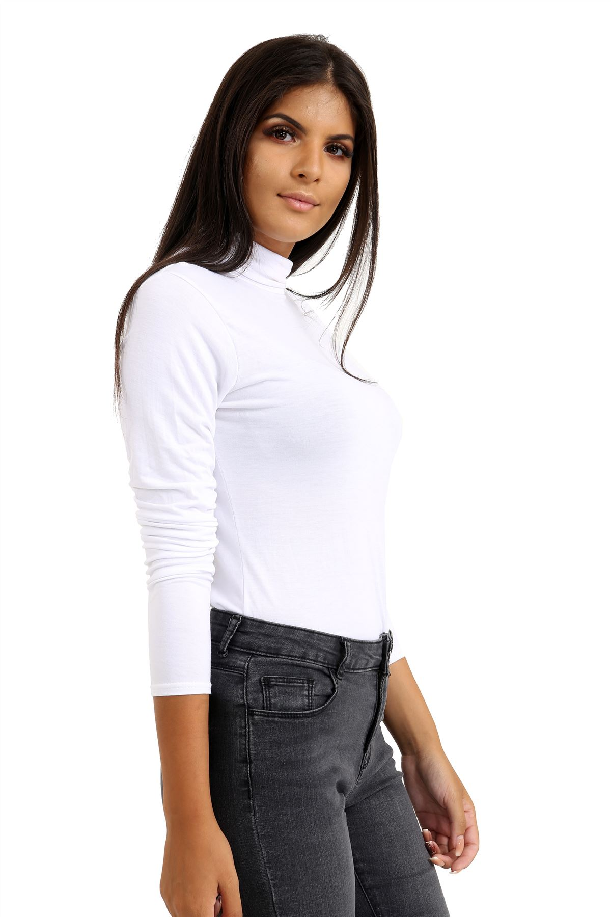 New-Ladies-Long-Sleeve-Plain-Turtle-Polo-Roll-Neck-Stretch-Jumper-T-Shirt-TeeTop thumbnail 27