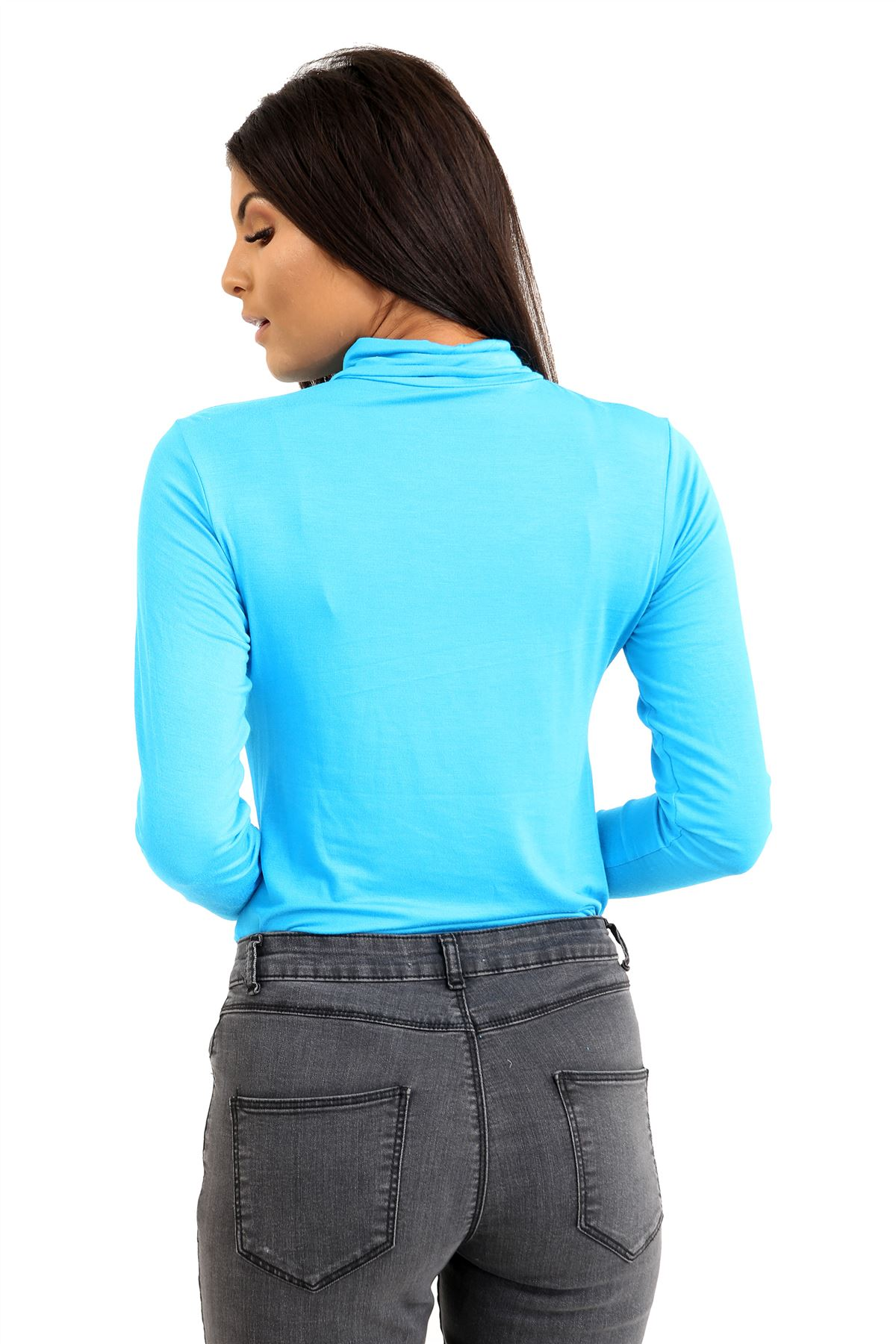 New-Ladies-Long-Sleeve-Plain-Turtle-Polo-Roll-Neck-Stretch-Jumper-T-Shirt-TeeTop thumbnail 115