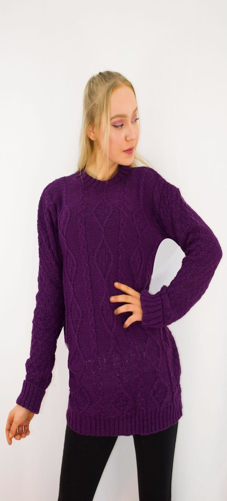 New-Ladies-Long-Manche-Chunky-Cable-Knitted-Jumper-crew-neck-hiver-Sweater-Top miniature 31