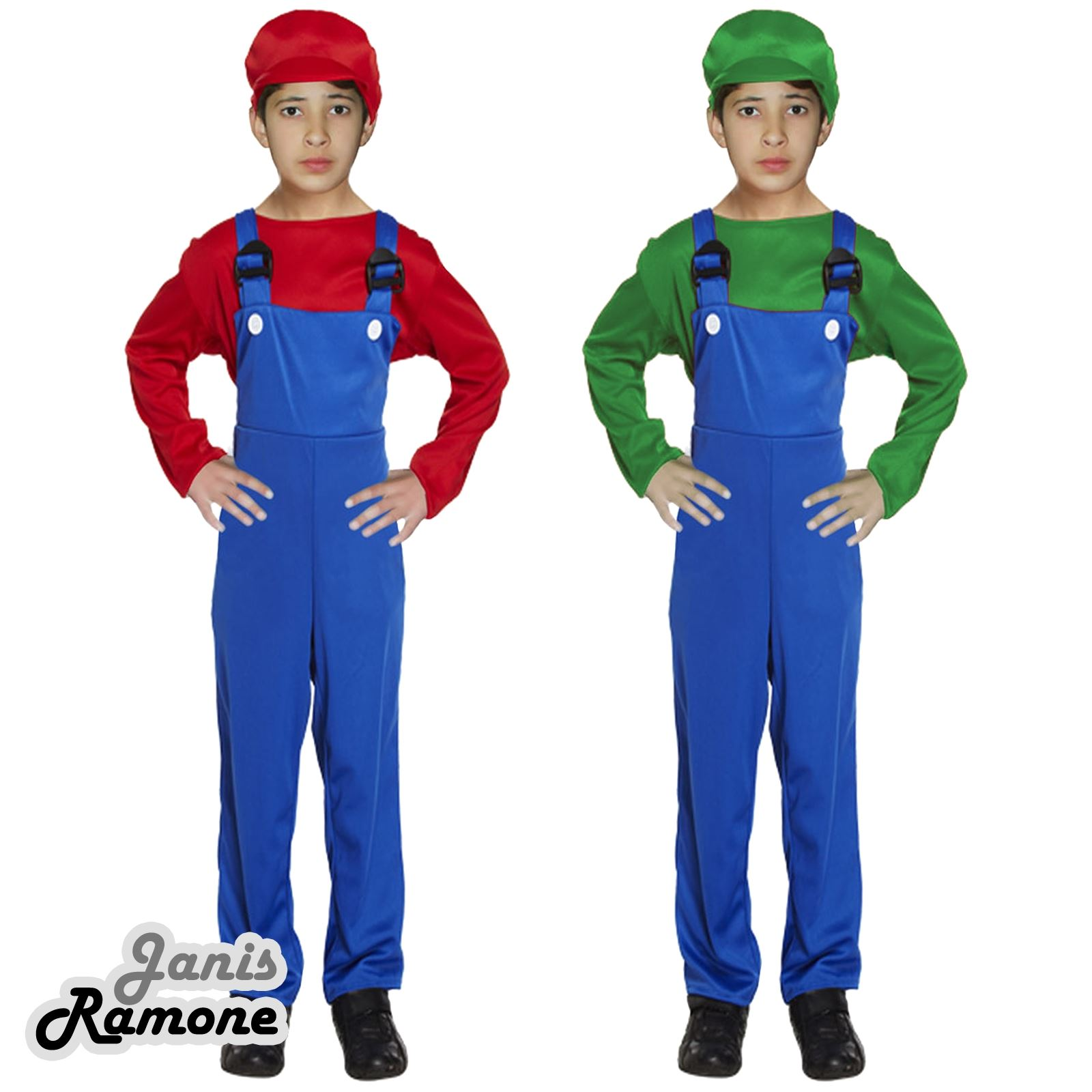 Childs Red Super Workman Italian Plumber Boys Fancy Dress Costume