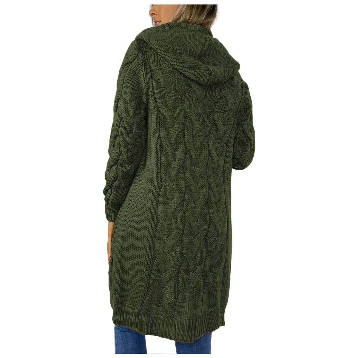 Ladies-Cable-Knitted-Hooded-Open-Longline-Cardigan-Winter-Oversized-Jacket-Top thumbnail 19