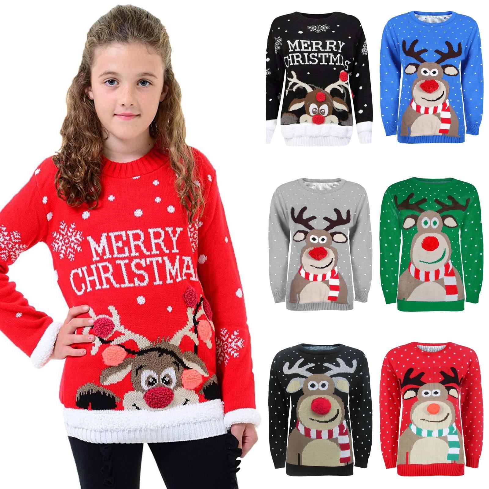 janisramone Girls Boys New Kids 3D Pom Pom Rudolph Reindeer Merry Christmas Knitted Xmas Jumper Sweater Top