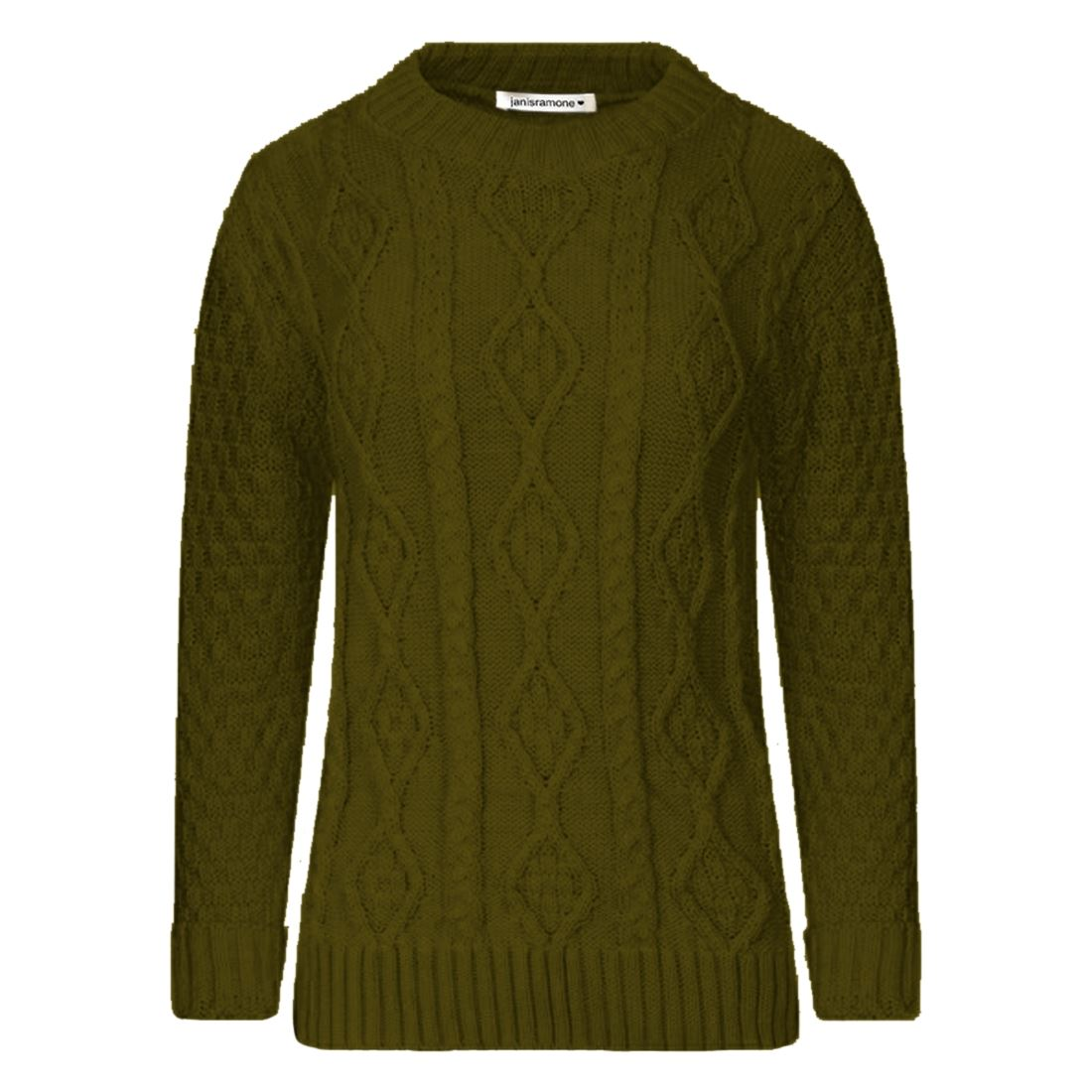 New-Ladies-Long-Sleeve-Chunky-Cable-Knitted-Jumper-Crew-Neck-Winter-Sweater-Top
