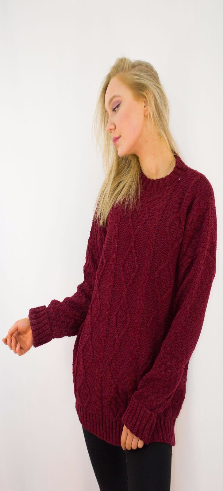 New-Ladies-Long-Manche-Chunky-Cable-Knitted-Jumper-crew-neck-hiver-Sweater-Top miniature 44