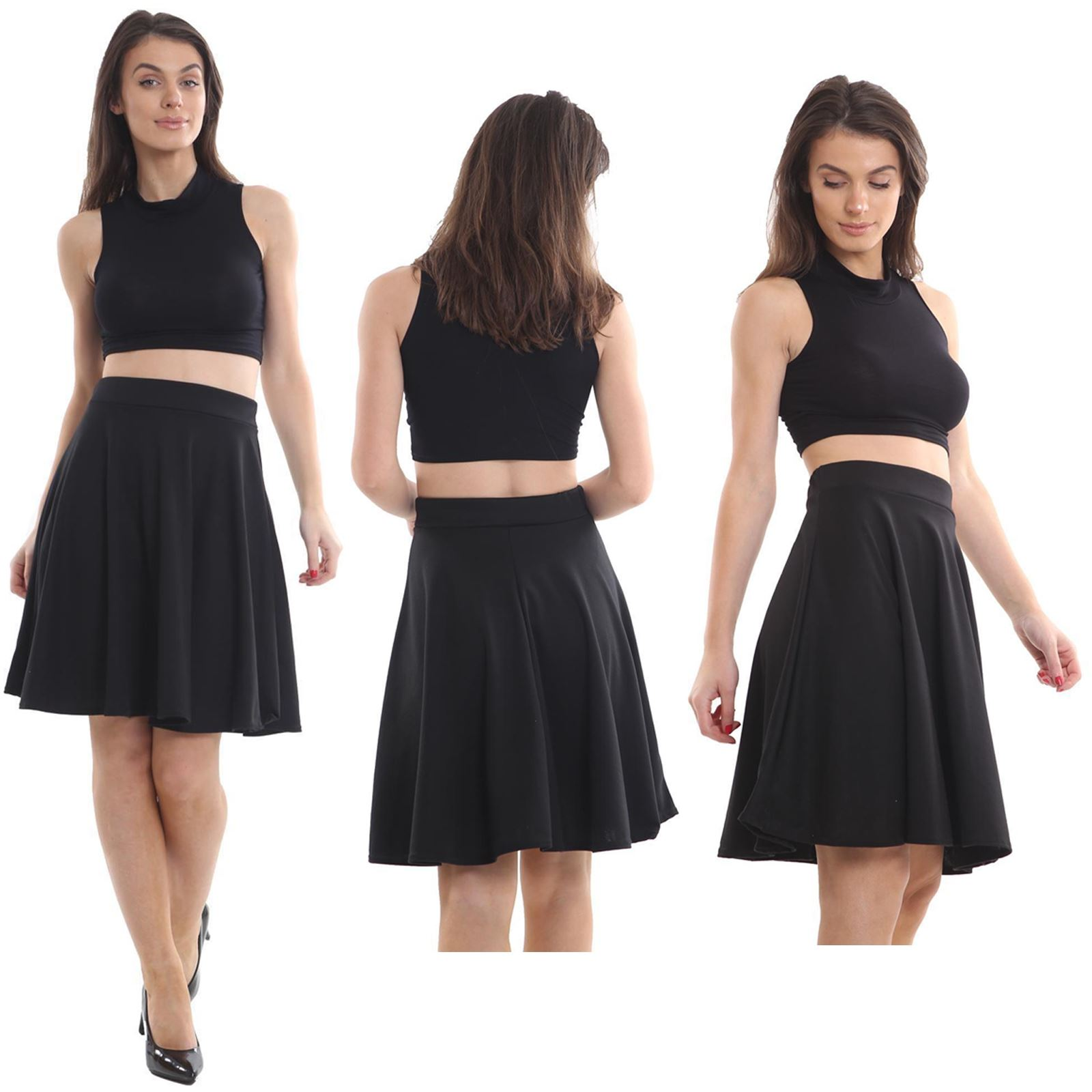NEW WOMENS LADIES CASUAL BASIC JERSEY ELASTICATED WAIST FLARED LOOK SKATER SKIRT