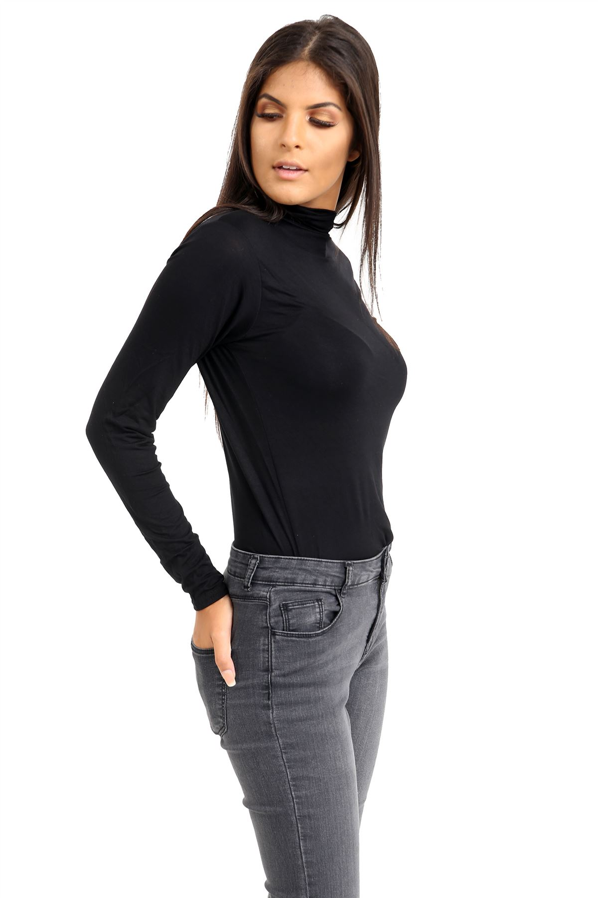 New-Ladies-Long-Sleeve-Plain-Turtle-Polo-Roll-Neck-Stretch-Jumper-T-Shirt-TeeTop thumbnail 16