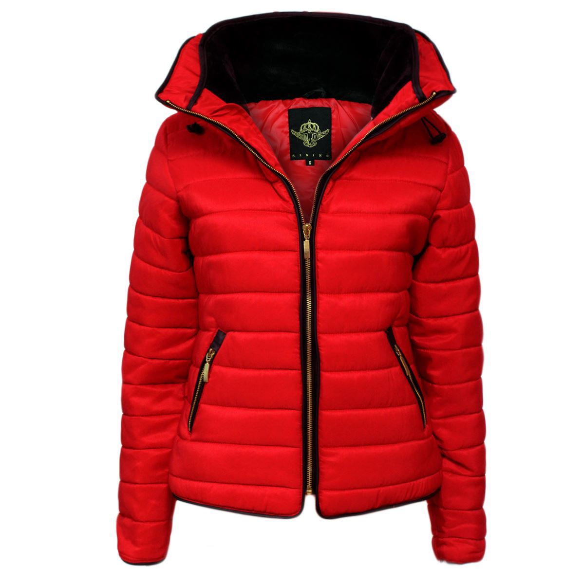 New Womens Quilted Puffer Bubble Padded Jacket Fur Collar Gold Zipup