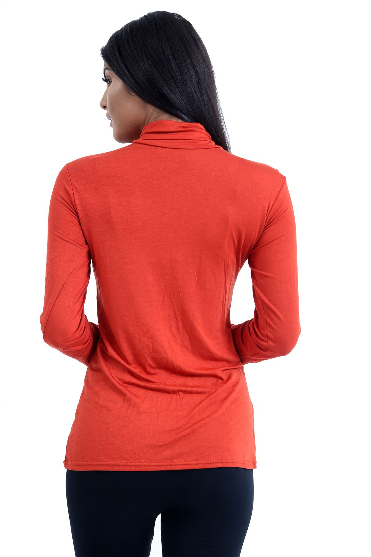 New-Ladies-Long-Sleeve-Plain-Turtle-Polo-Roll-Neck-Stretch-Jumper-T-Shirt-TeeTop thumbnail 92