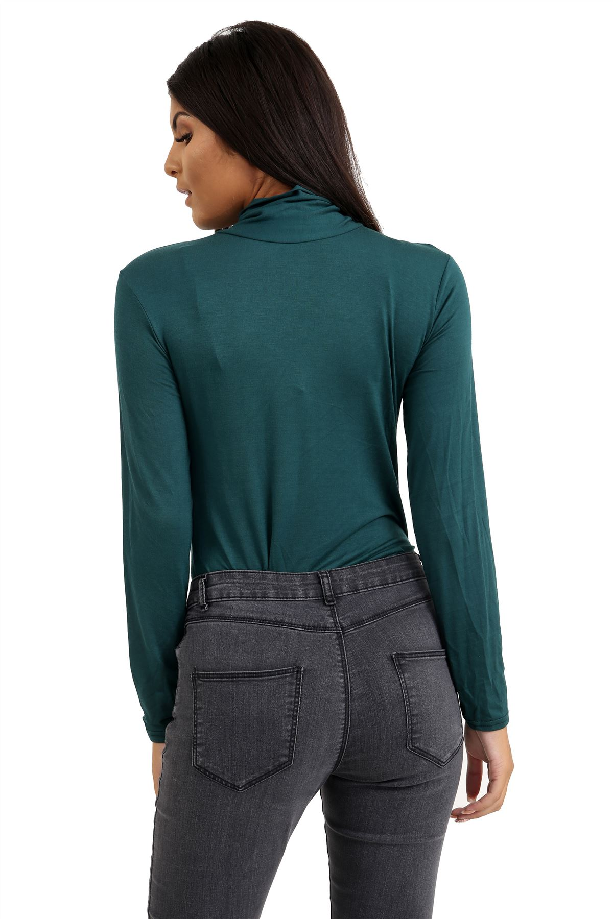 New-Ladies-Long-Sleeve-Plain-Turtle-Polo-Roll-Neck-Stretch-Jumper-T-Shirt-TeeTop thumbnail 8
