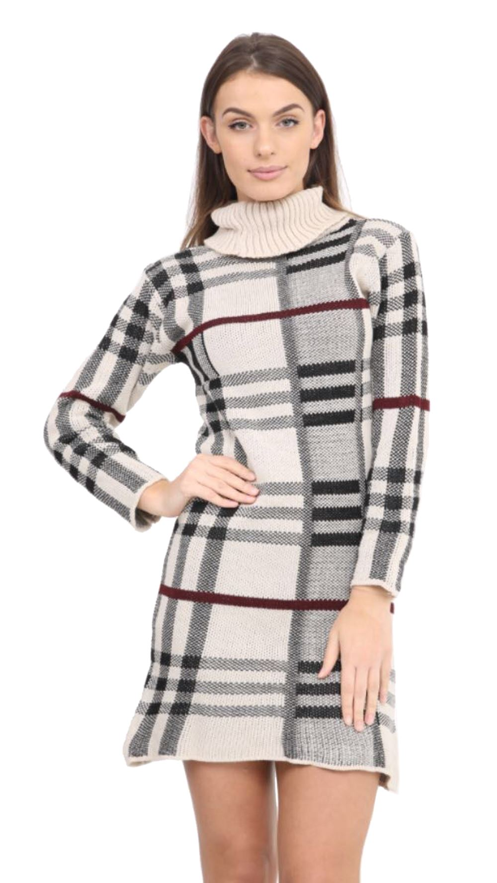 f086d95ab64 New Womens LongSleeve Checked Knit Cowl Polo Neck Bodycon Jumper Tunic Dress  Top