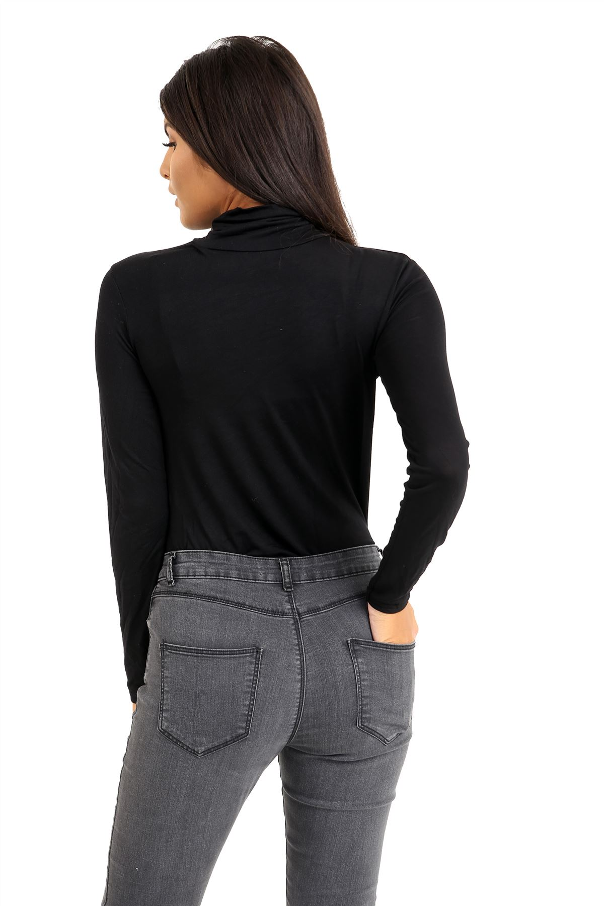 New-Ladies-Long-Sleeve-Plain-Turtle-Polo-Roll-Neck-Stretch-Jumper-T-Shirt-TeeTop thumbnail 13