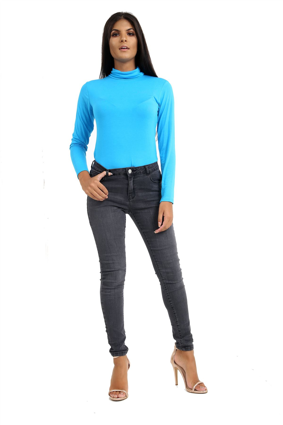 New-Ladies-Long-Sleeve-Plain-Turtle-Polo-Roll-Neck-Stretch-Jumper-T-Shirt-TeeTop thumbnail 118