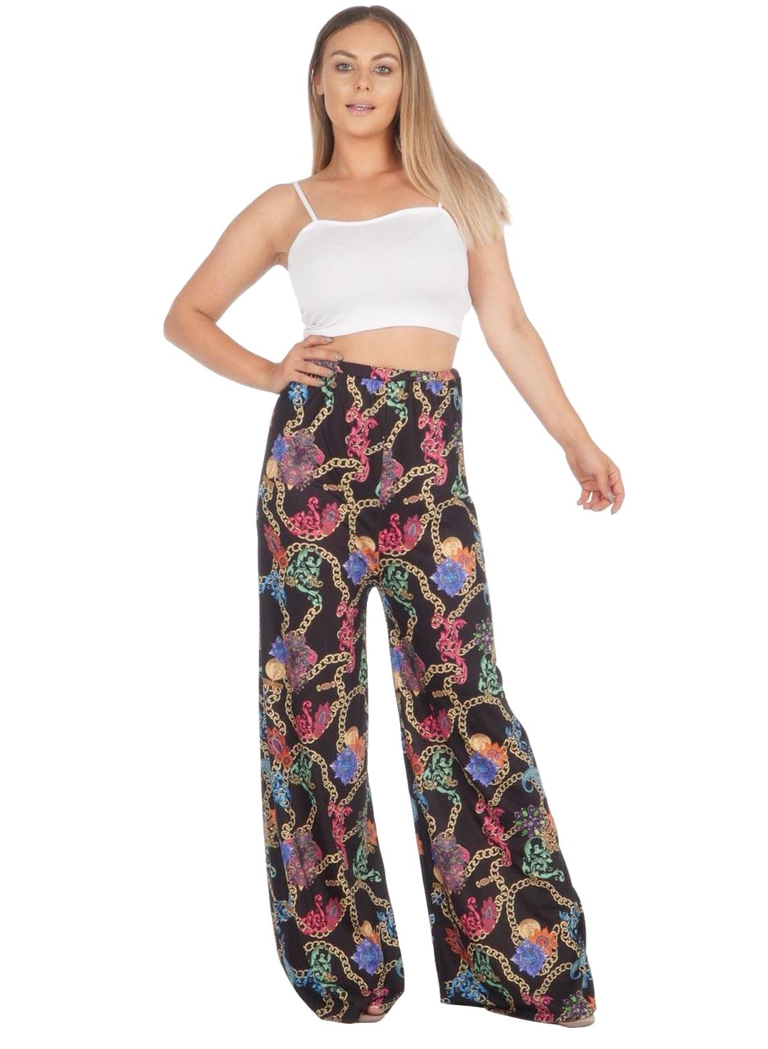 New-Ladies-Floral-Printed-Wide-Leg-Flared-Parallel-Baggy-Trousers-Pants-Palazzo thumbnail 77