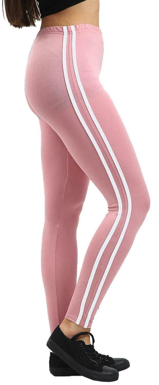 Femmes Contraste Côté 2 à Rayures Extensible Pleine Longueur Fitness Leggings Skinny Pants