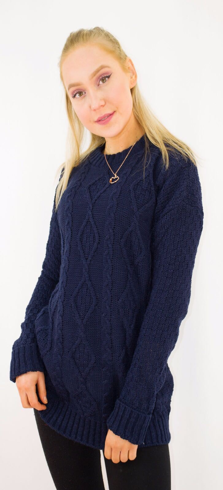 New-Ladies-Long-Manche-Chunky-Cable-Knitted-Jumper-crew-neck-hiver-Sweater-Top miniature 27