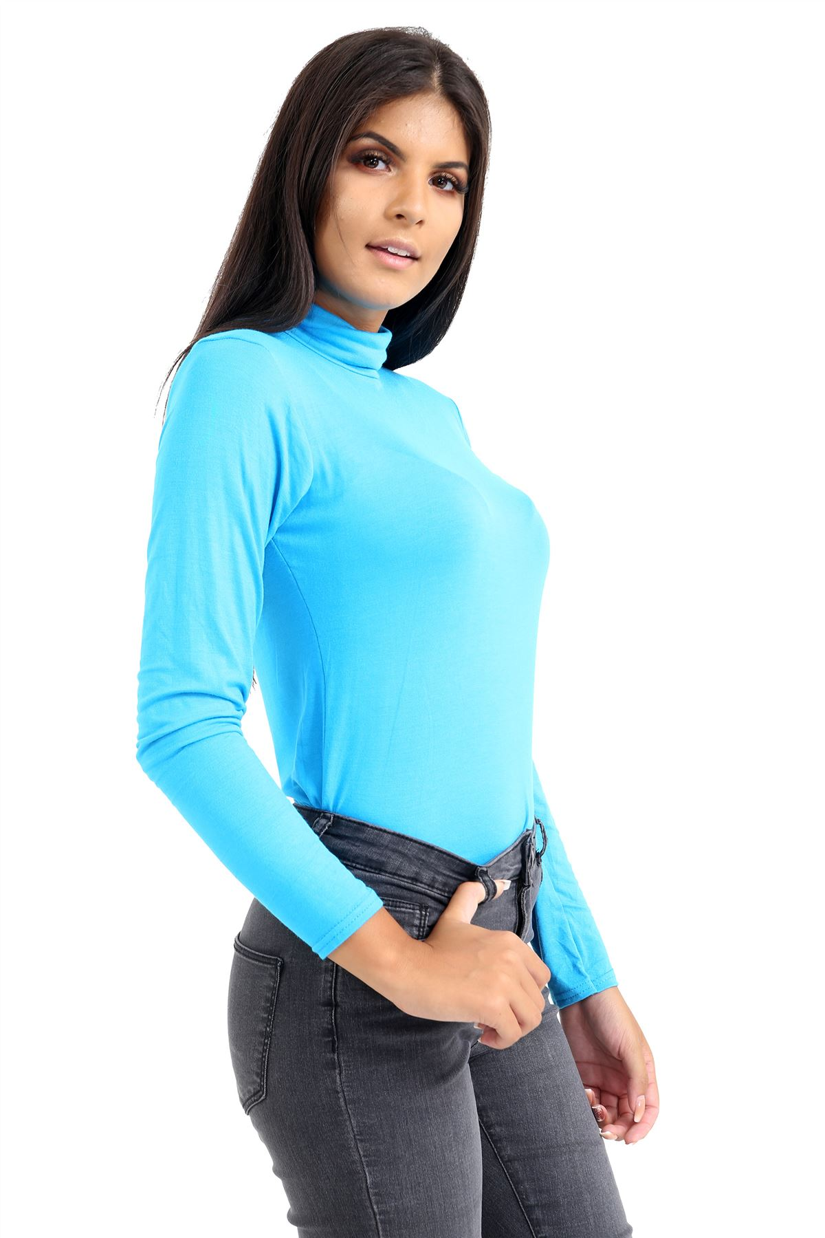 New-Ladies-Long-Sleeve-Plain-Turtle-Polo-Roll-Neck-Stretch-Jumper-T-Shirt-TeeTop thumbnail 116