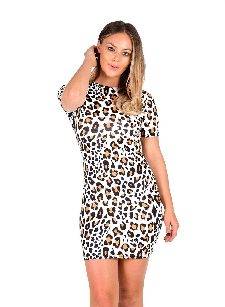 15e326a92643f New Ladies Camouflage Aztec Print Short Sleeve Stretch Tunic Bodycon ...