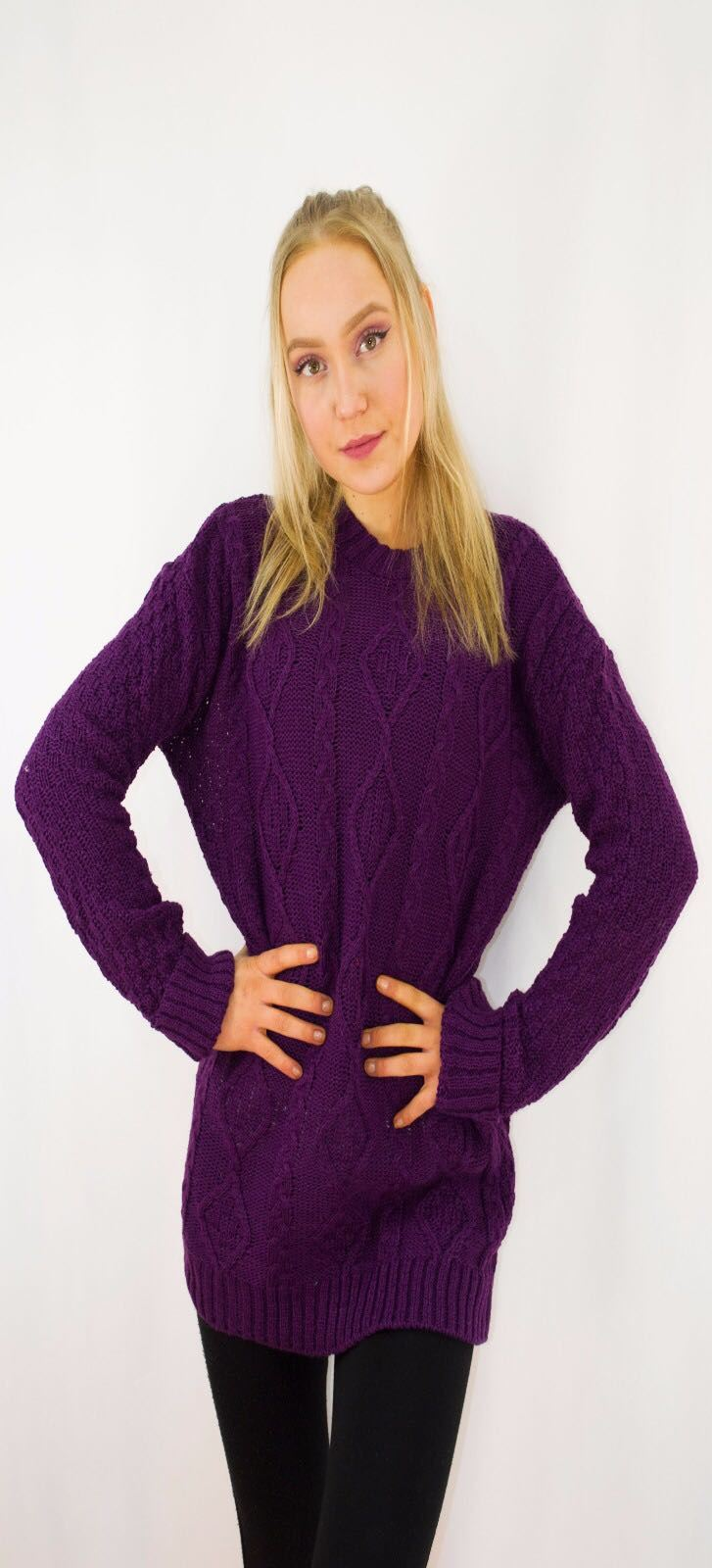 New-Ladies-Long-Manche-Chunky-Cable-Knitted-Jumper-crew-neck-hiver-Sweater-Top miniature 32