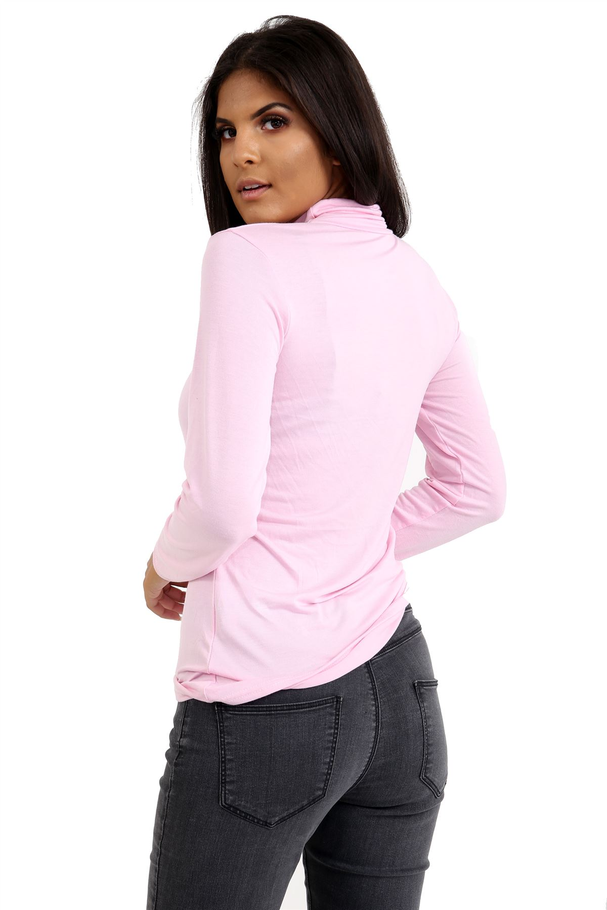 New-Ladies-Long-Sleeve-Plain-Turtle-Polo-Roll-Neck-Stretch-Jumper-T-Shirt-TeeTop thumbnail 3