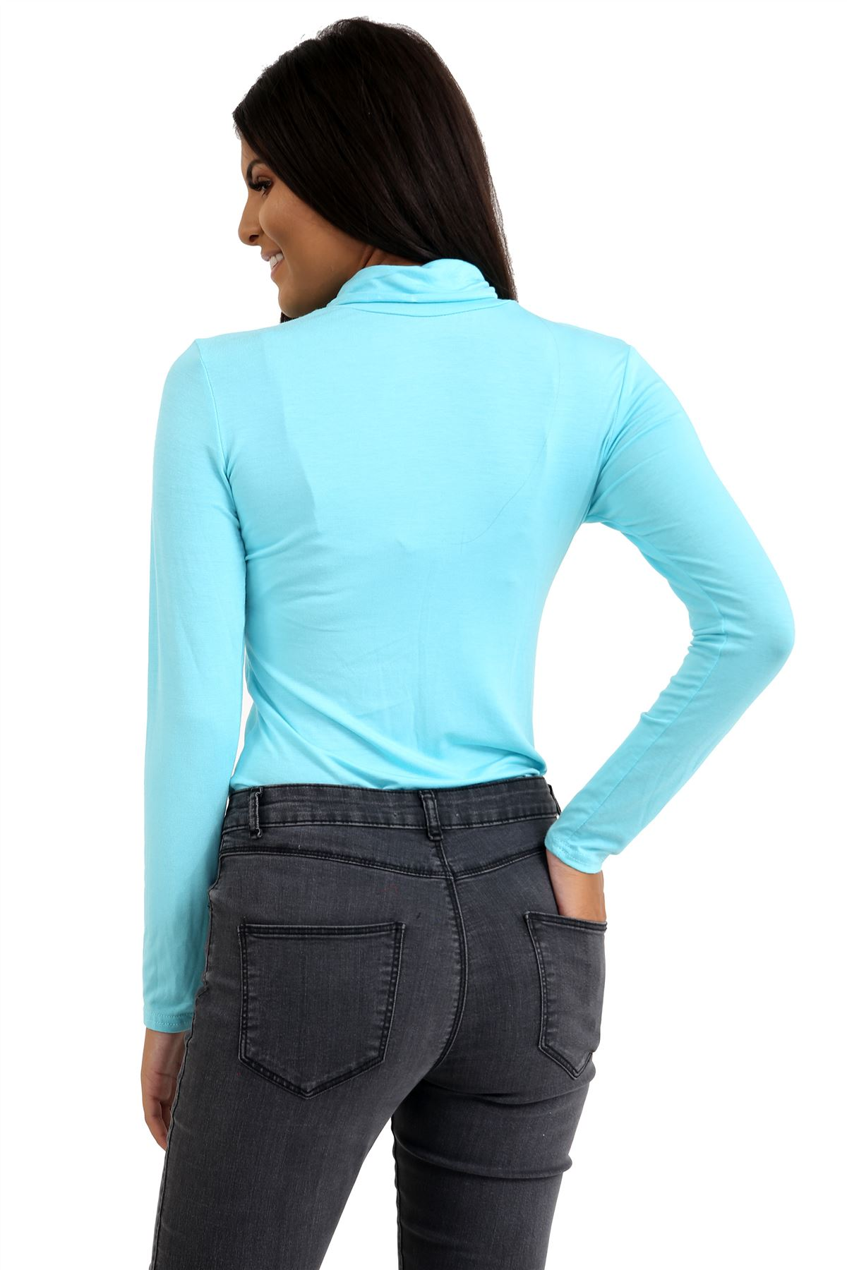 New-Ladies-Long-Sleeve-Plain-Turtle-Polo-Roll-Neck-Stretch-Jumper-T-Shirt-TeeTop thumbnail 65