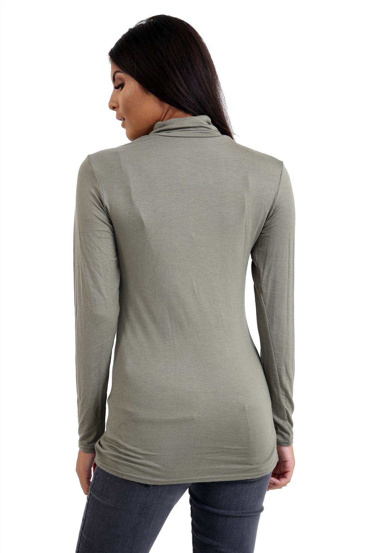 New-Ladies-Long-Sleeve-Plain-Turtle-Polo-Roll-Neck-Stretch-Jumper-T-Shirt-TeeTop thumbnail 53