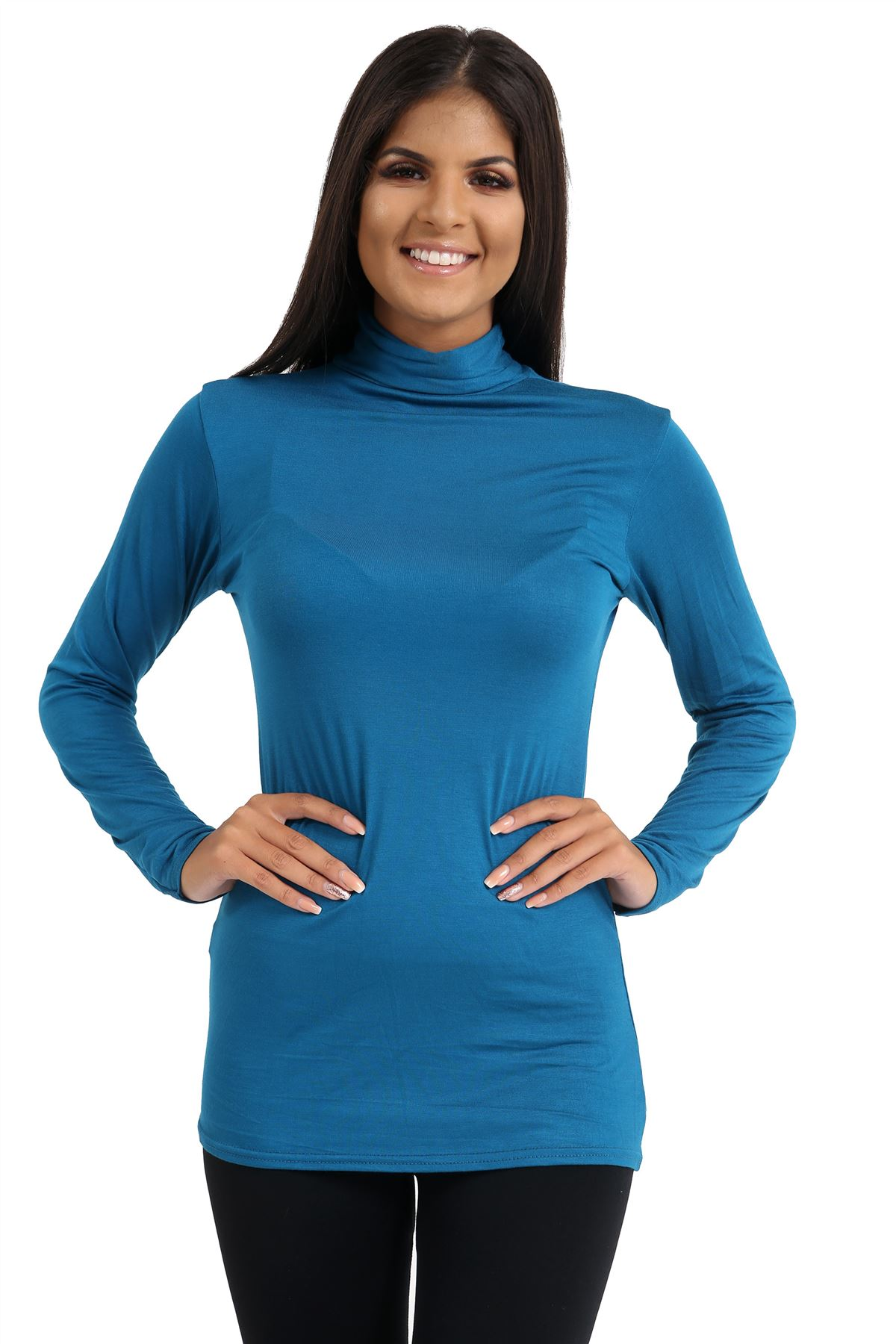 New-Ladies-Long-Sleeve-Plain-Turtle-Polo-Roll-Neck-Stretch-Jumper-T-Shirt-TeeTop thumbnail 124