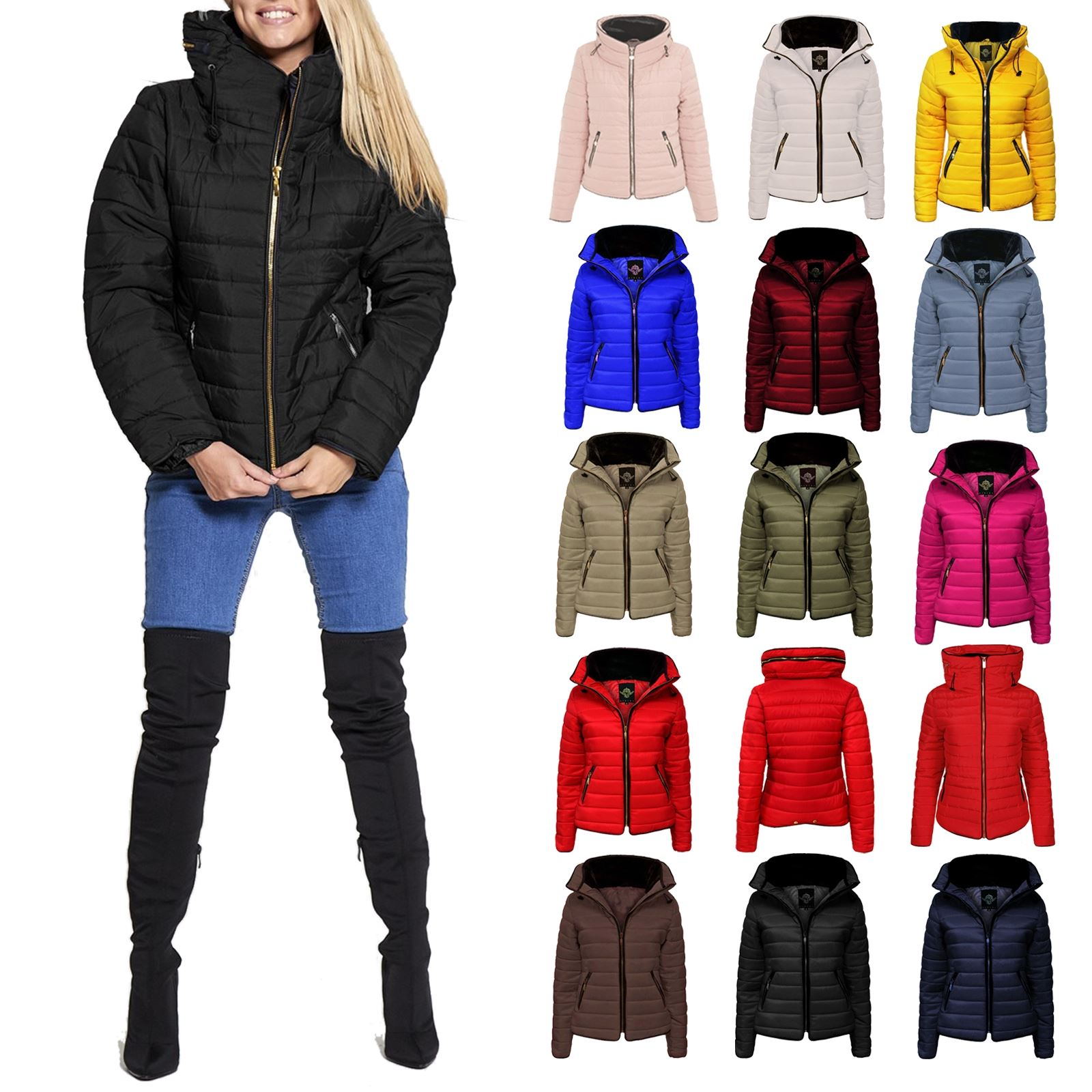 Womens Faux Fur Lining Padded Collar Quilted Zip Up Pockets Jacket Winter Coat