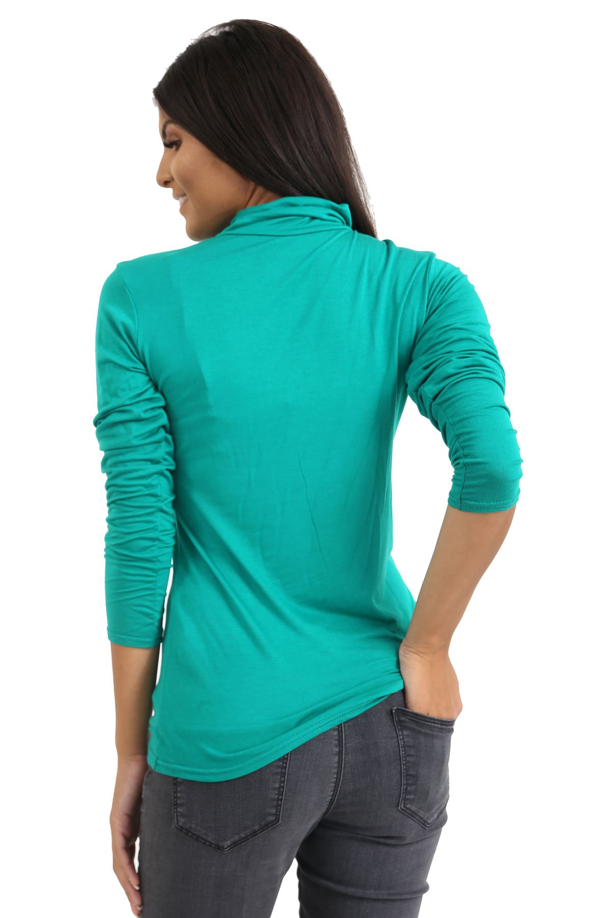 New-Ladies-Long-Sleeve-Plain-Turtle-Polo-Roll-Neck-Stretch-Jumper-T-Shirt-TeeTop thumbnail 43
