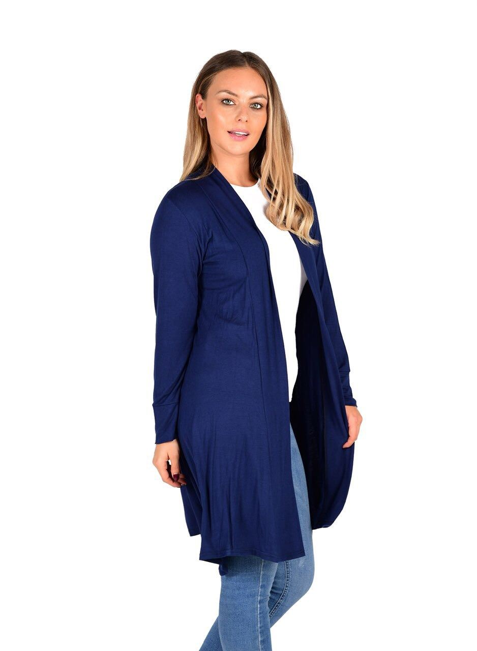 New-Womens-Open-Front-Knee-Length-Plain-Cardigan-Long-Sleeve-Party-Casual-Top miniatura 12