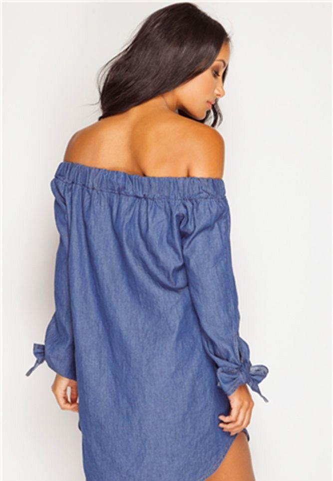 0dfbc514c23206 New Ladies Off Shoulder Long Tie Sleeve Bardot Button Denim Shirt ...