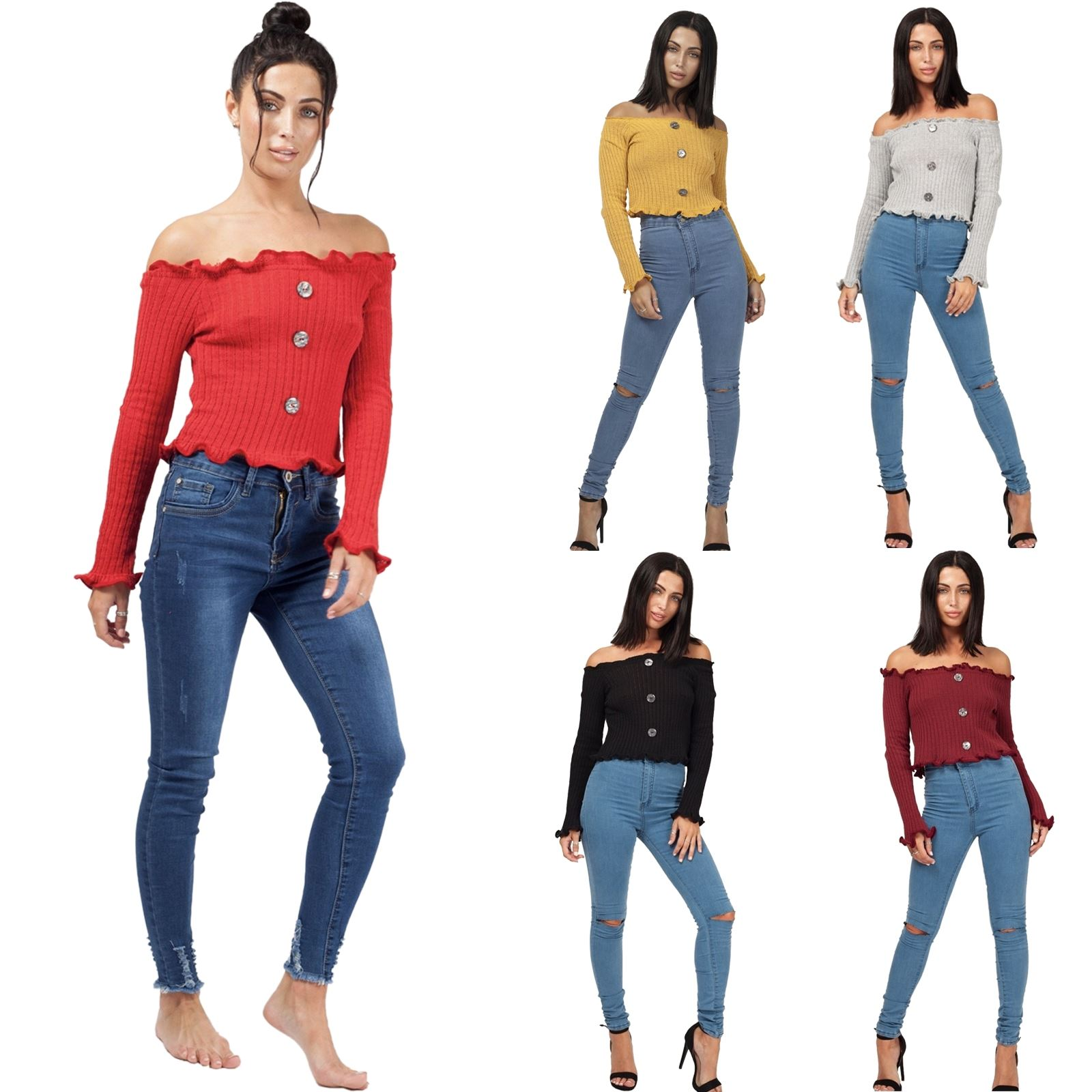 96a9c652b58be Details about New Womens Bardot Off Shoulder Button Frill Ribbed Knitted  Crop Jumper Warm Top