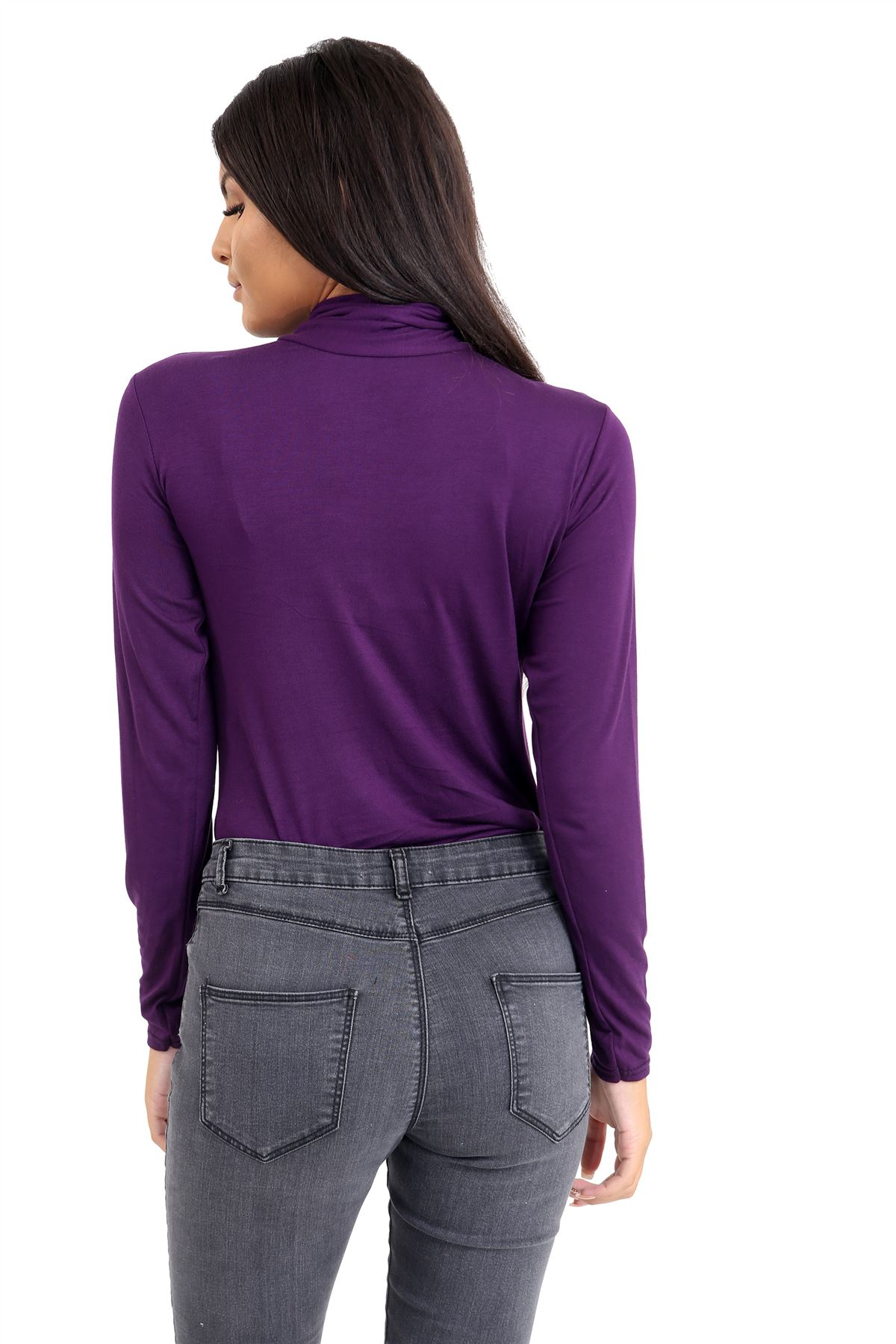 New-Ladies-Long-Sleeve-Plain-Turtle-Polo-Roll-Neck-Stretch-Jumper-T-Shirt-TeeTop thumbnail 87
