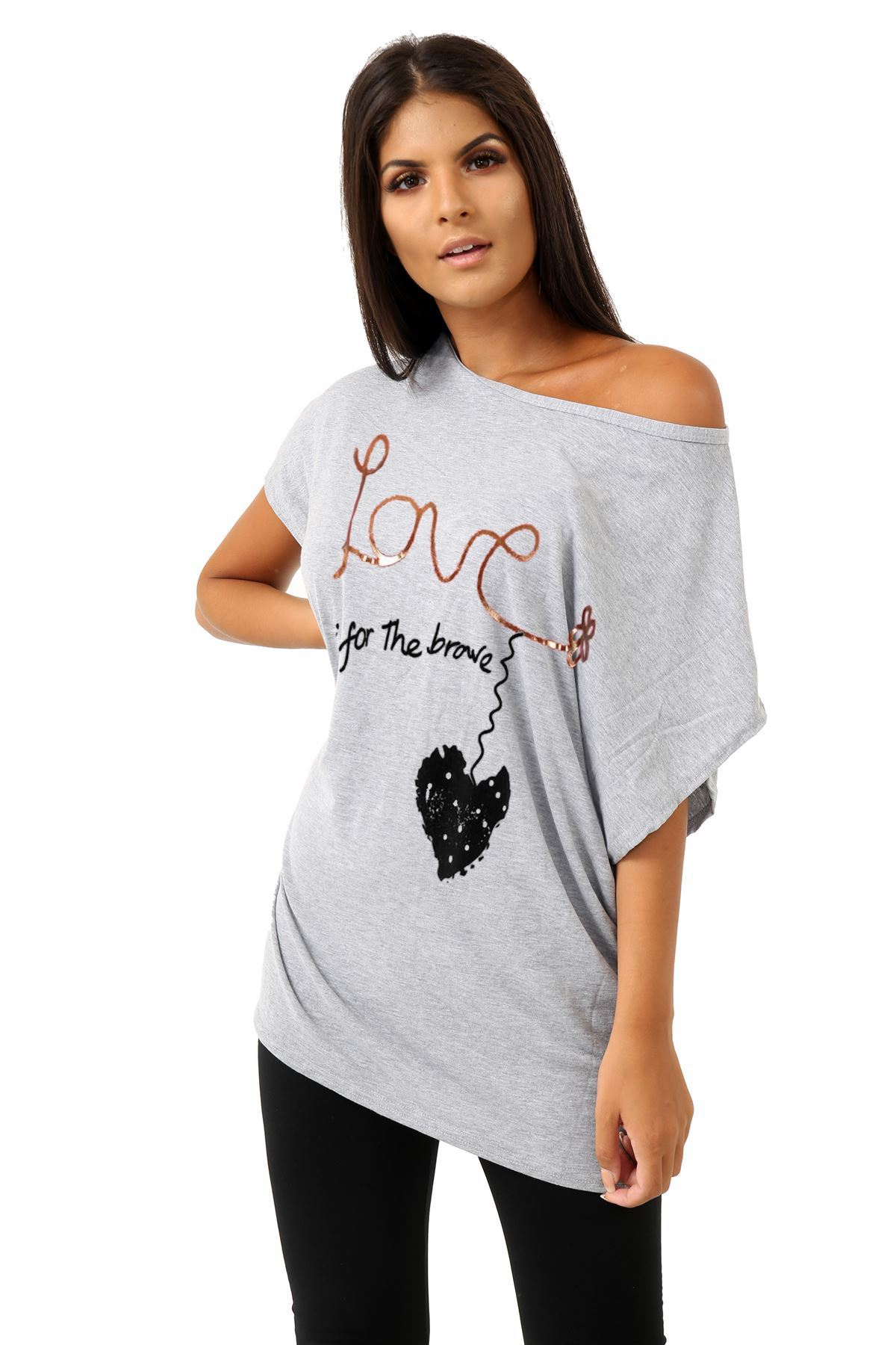 Plus-Size-Womens-Batwing-Sleeve-Printed-Off-Shoulder-Bardot-Oversize-T-Shirt-Top thumbnail 14