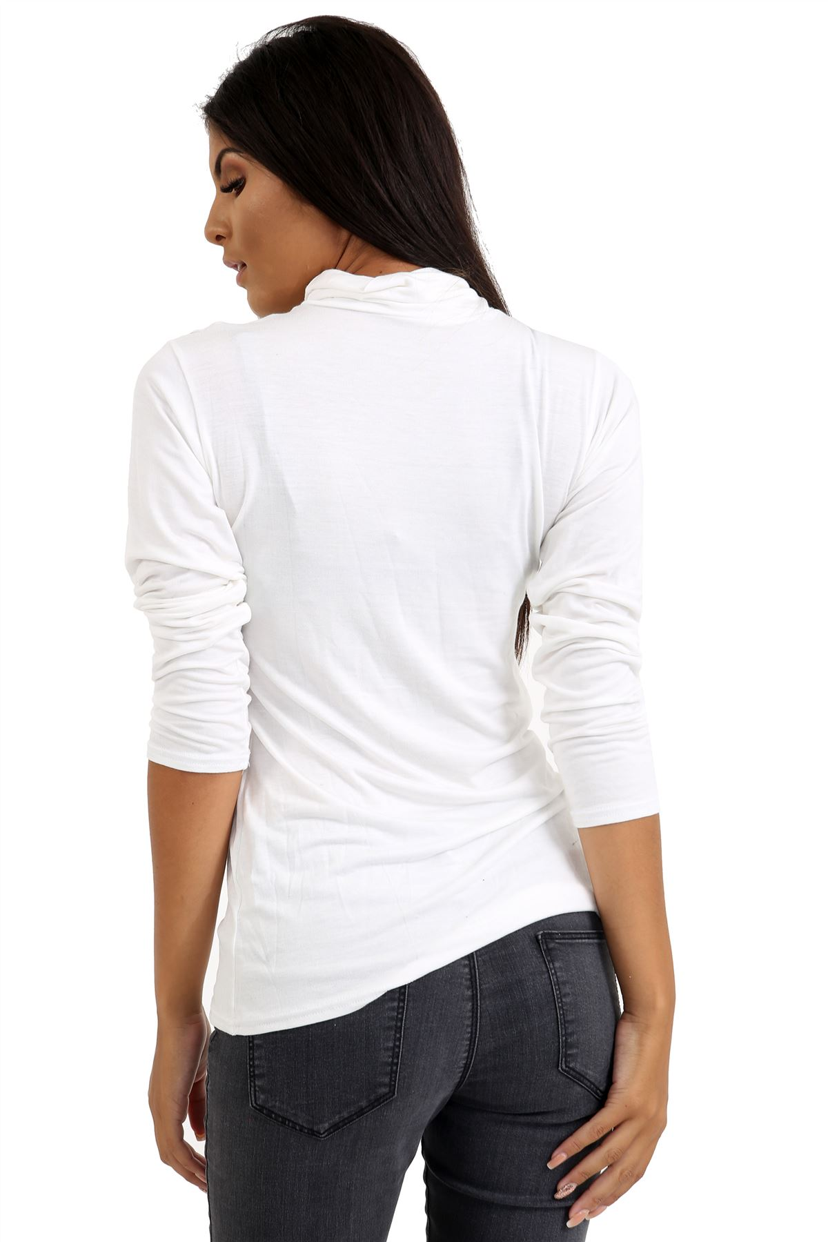 New-Ladies-Long-Sleeve-Plain-Turtle-Polo-Roll-Neck-Stretch-Jumper-T-Shirt-TeeTop thumbnail 126