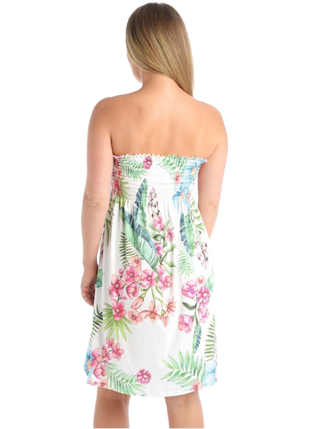 Womens Ladies Bandeau Boobtube Ruched Floral Rose Sheering Swing Mini Dress Top