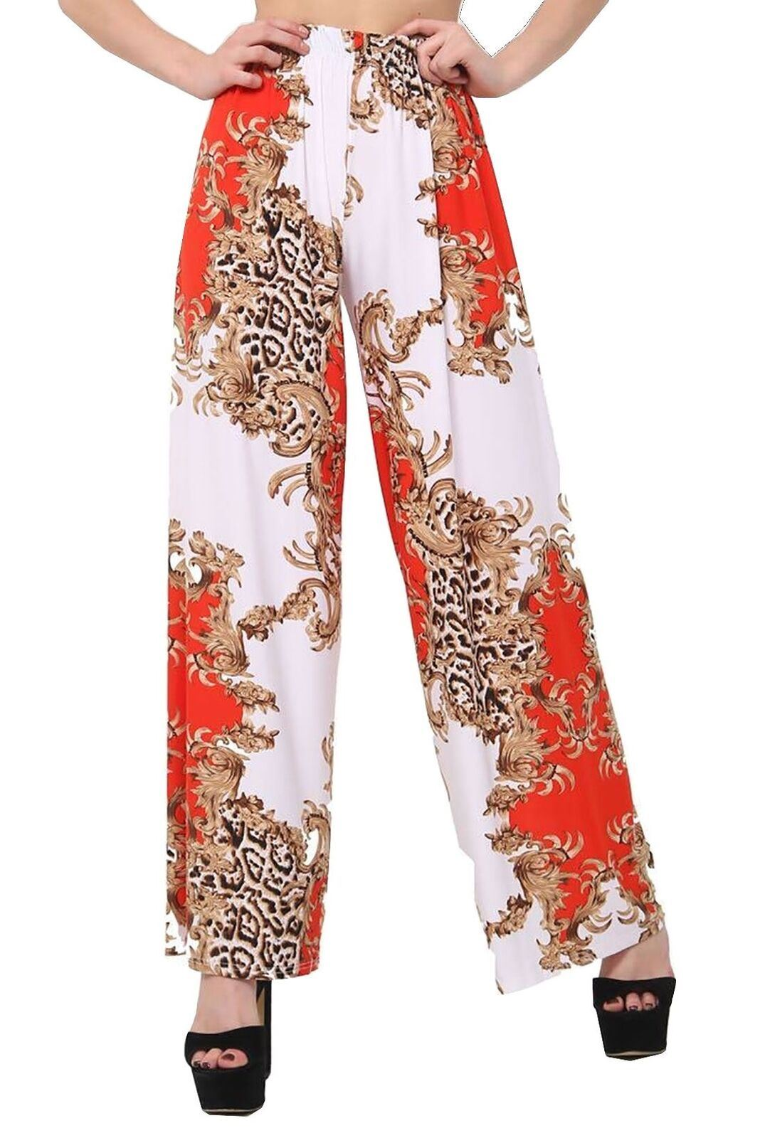 New-Ladies-Floral-Printed-Wide-Leg-Flared-Parallel-Baggy-Trousers-Pants-Palazzo thumbnail 41