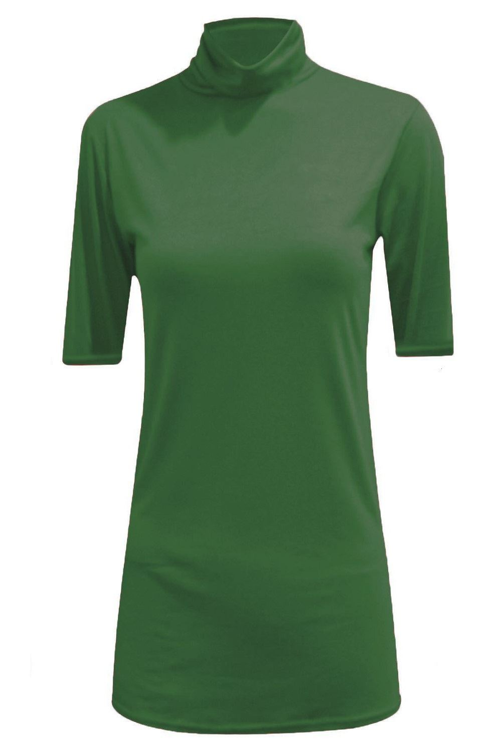 New womens short sleeve plain polo turtle neck stretchy for Polo shirt with undershirt