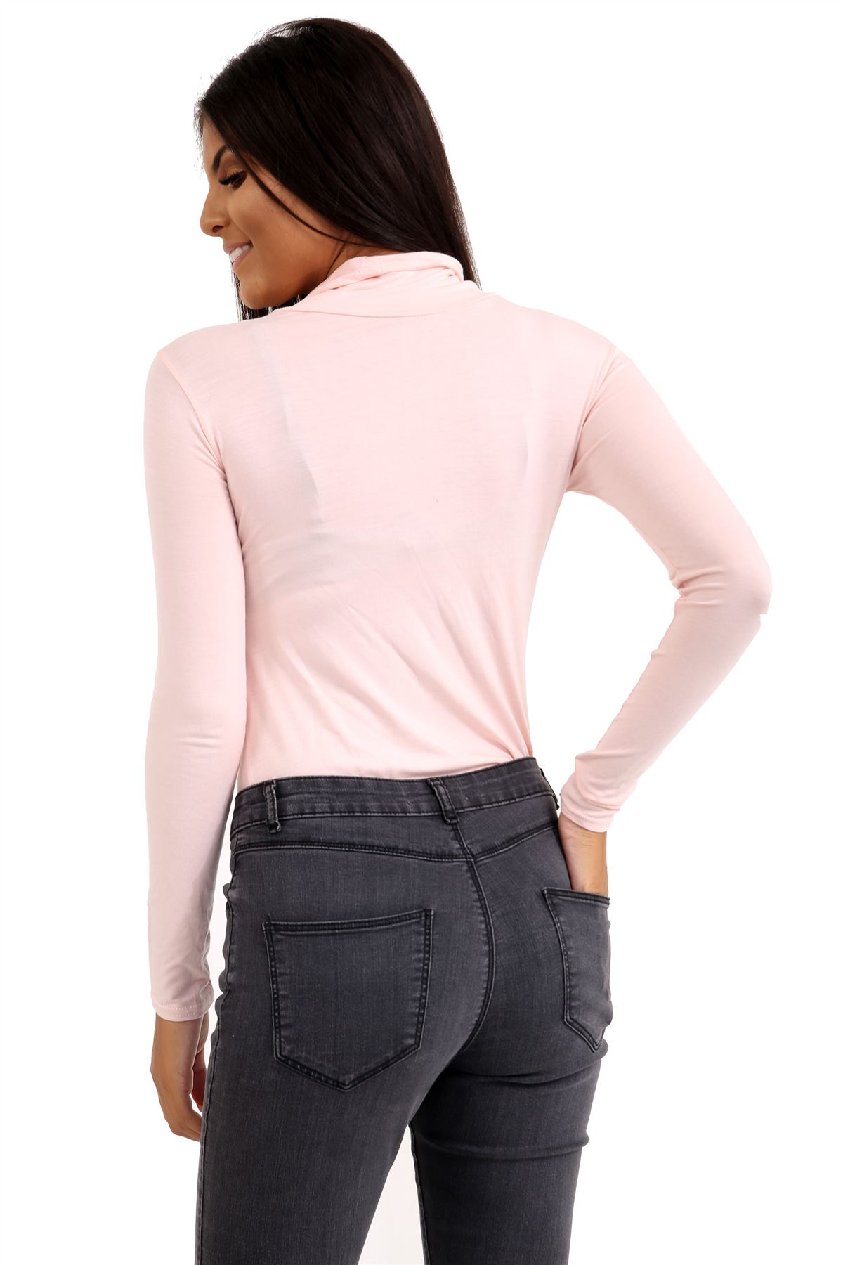 New-Ladies-Long-Sleeve-Plain-Turtle-Polo-Roll-Neck-Stretch-Jumper-T-Shirt-TeeTop thumbnail 79
