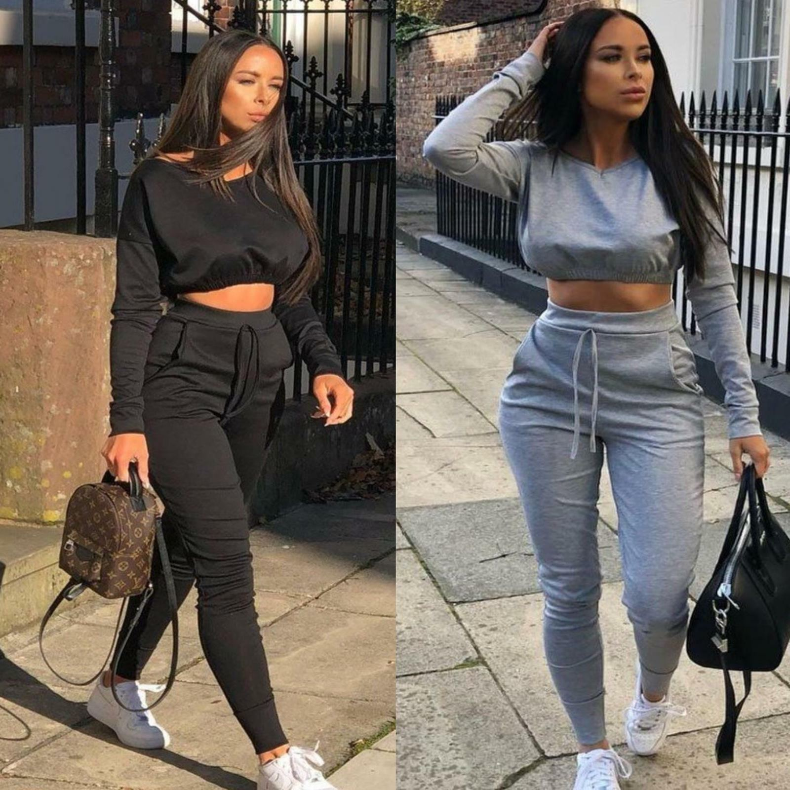 New Ladies Co ord Cropped Top Suit Lounge Wear Bottoms Tracksuit 2 PCS Set UK