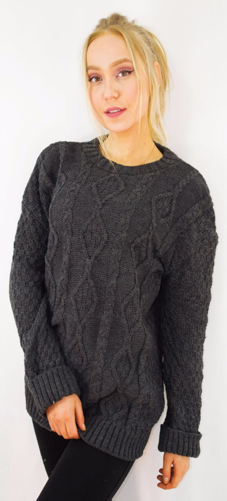 New-Ladies-Long-Manche-Chunky-Cable-Knitted-Jumper-crew-neck-hiver-Sweater-Top miniature 12