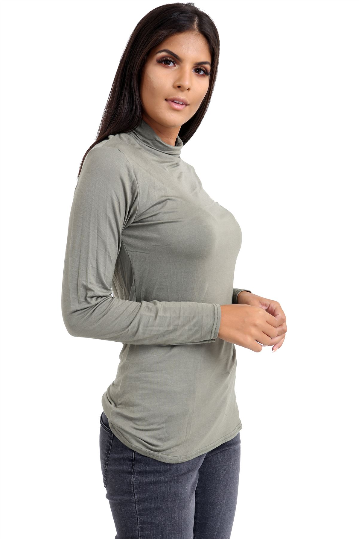 New-Ladies-Long-Sleeve-Plain-Turtle-Polo-Roll-Neck-Stretch-Jumper-T-Shirt-TeeTop thumbnail 55