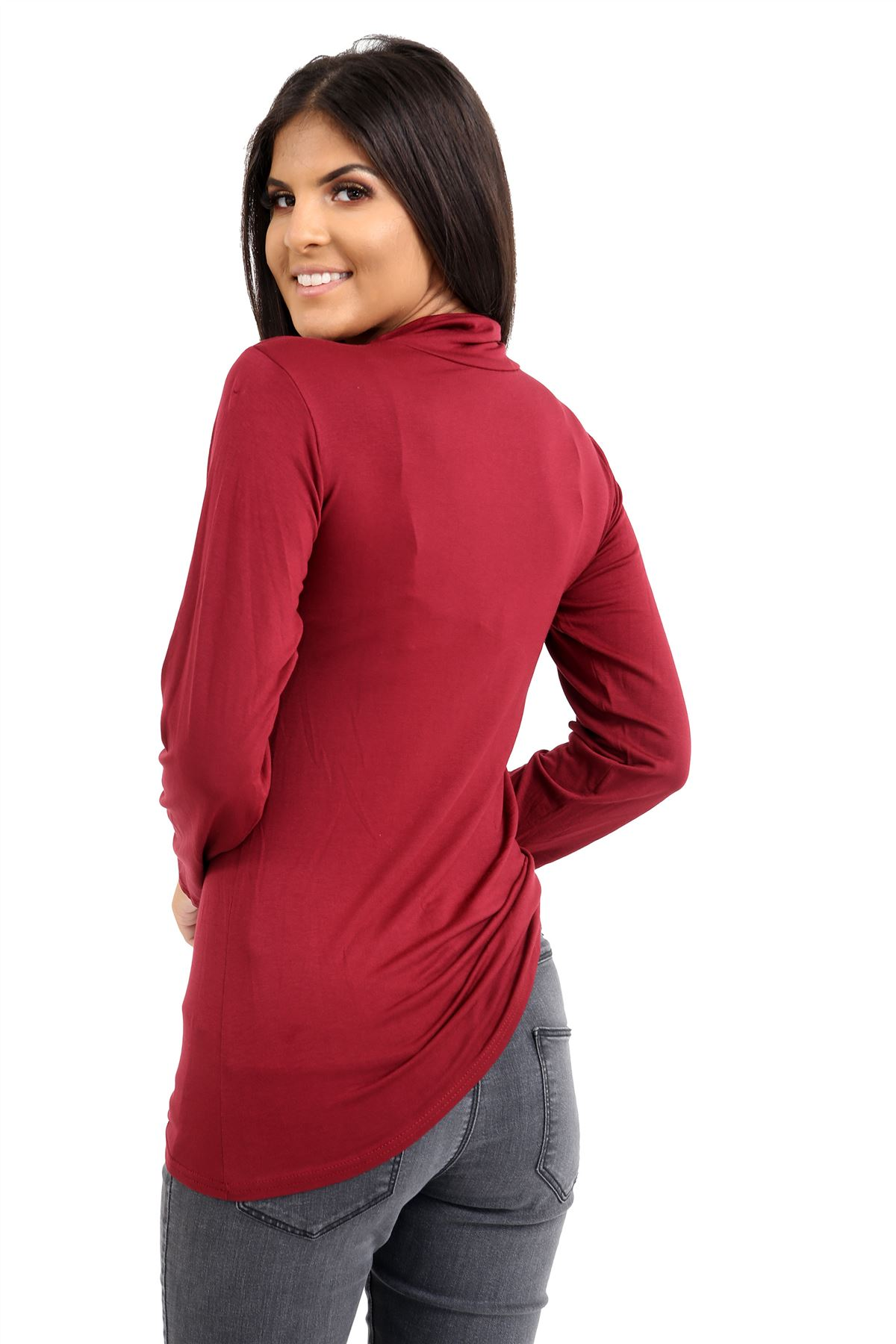 New-Ladies-Long-Sleeve-Plain-Turtle-Polo-Roll-Neck-Stretch-Jumper-T-Shirt-TeeTop thumbnail 132