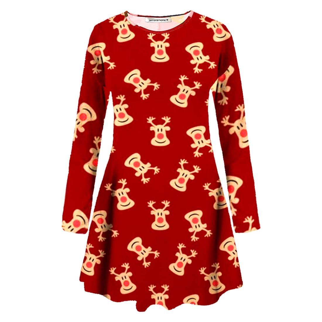 New-Womens-Christmas-Santa-Snowman-Penguin-Gift-Maternity-Xmas-Swing-Dress-UK