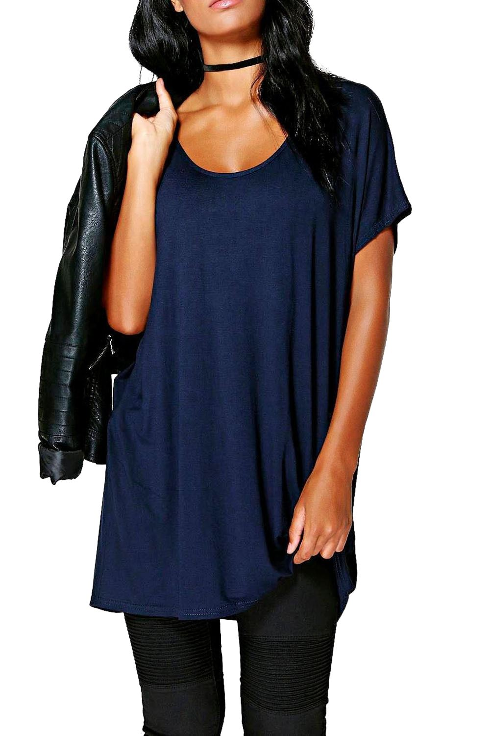 New-Womens-Plain-Slash-Neck-Off-Shoulder-Short-Sleeve-Baggy-Oversize-T-Shirt-Top
