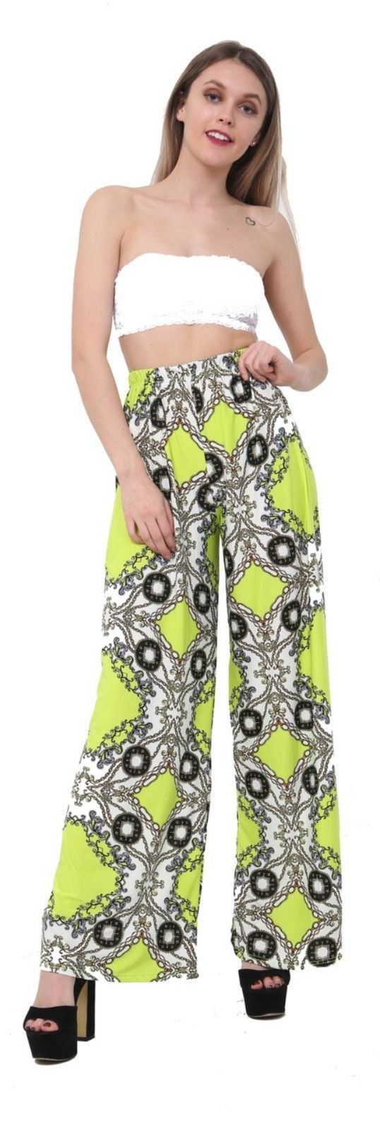 Womens Ladies Floral Printed Palazzo Trousers Summer Wide Leg Baggy Flared Pants